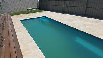 Travertine around pool