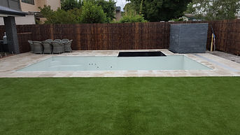 Marble Paving and Bamboo Screens
