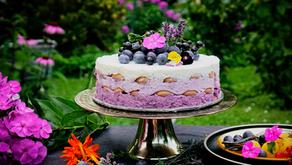Nepečený borůvkový dort ze zakysané smetany