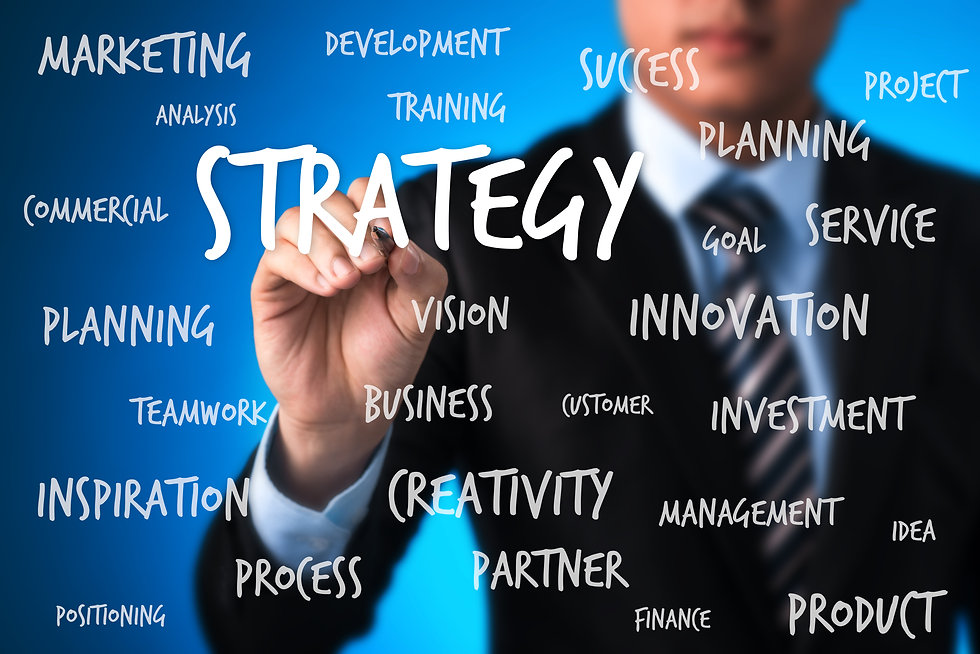 business man writing strategy plan conce