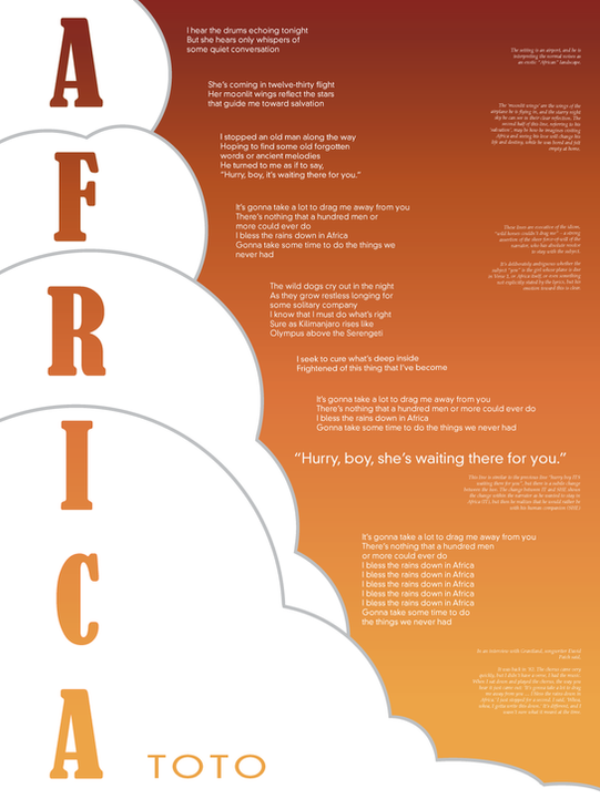 """Lyrical Poster (""""Africa"""" by Toto)"""