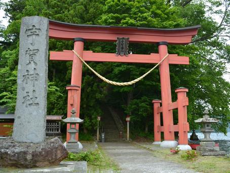 野尻湖に浮かぶ「宇賀神社」@長野