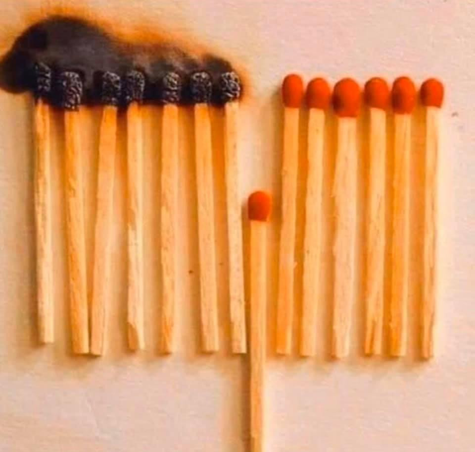 Matches in a row, all burning. One match is not in line and now the fire does not continue to spread to the rest of the matches.