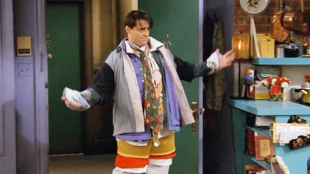 Joey from Friends wearing all Chandler's clothes