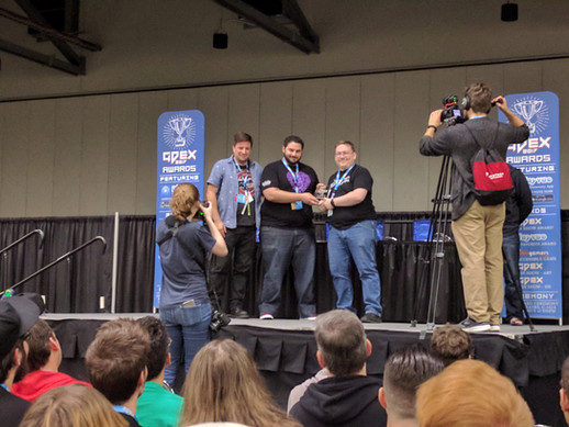 Collapsus winning AbleGamers accessibility award at GDEX