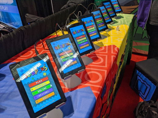 A bunch of Collapsus tablets at IndieMEGABOOTH 2020