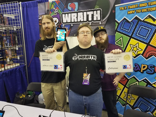Mark, Jay, and Adam accepting 2 awards at IndyPopCon