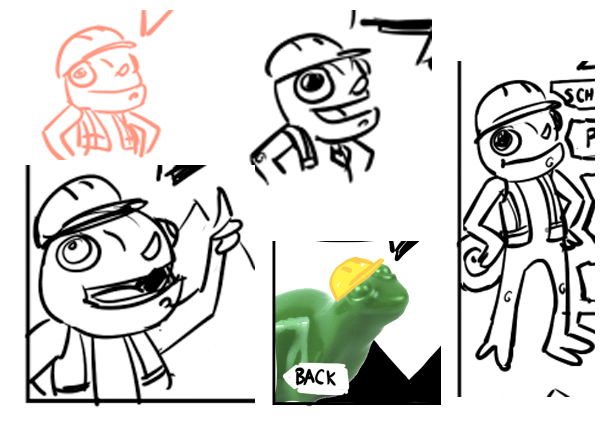A bunch of Leon sketches from the menu concept art, including a photo of a Lego frog in a sketched hardhat