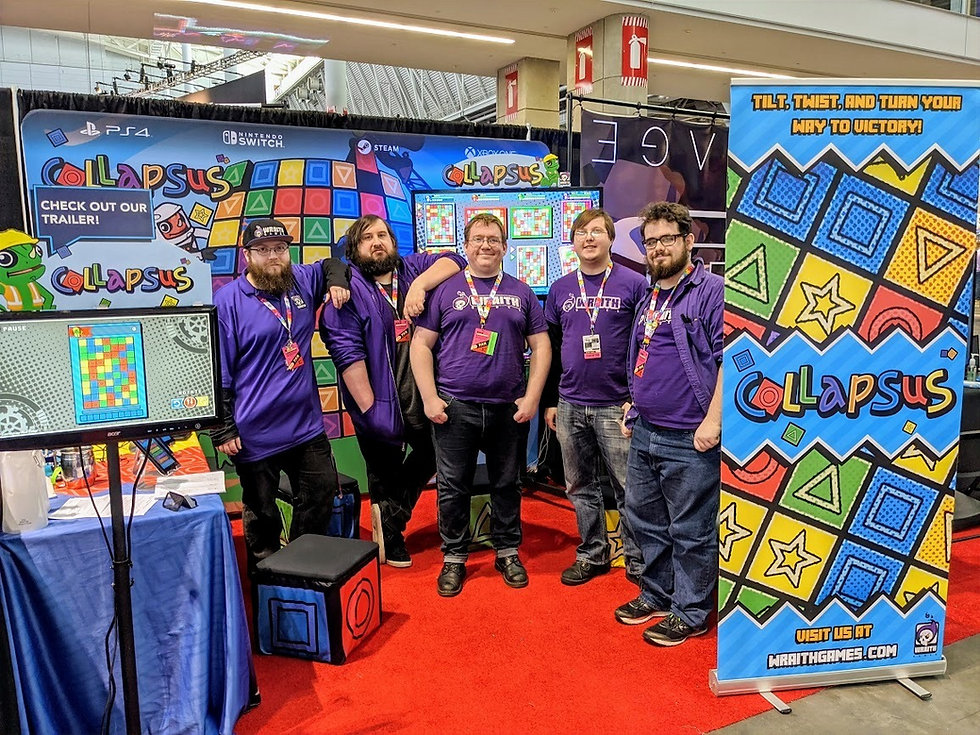 The Wraith Games team at the Collapsus IndieMegabooth during PAX East 2020
