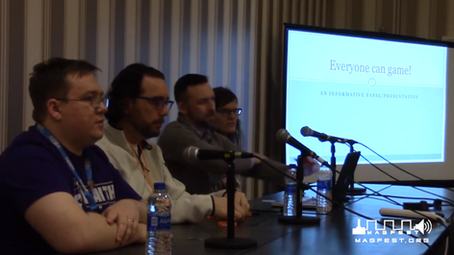Jay speaking with a panel of accessibility experts at Magfest