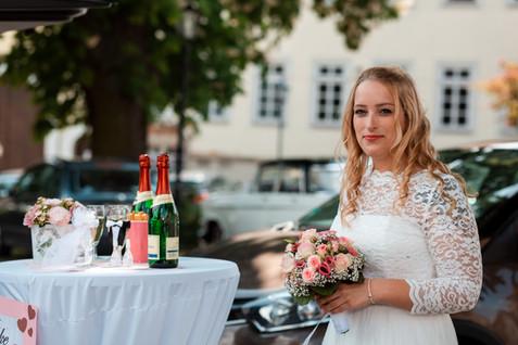 Hochzeits Reportage Sektempfang