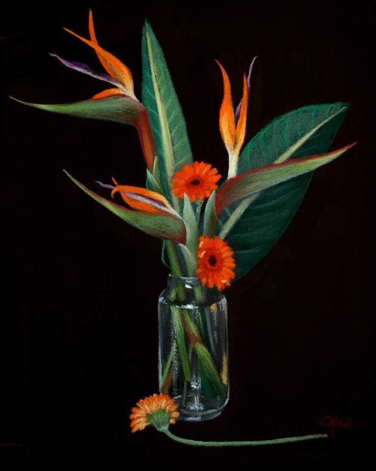 Vase aux Strelitzias