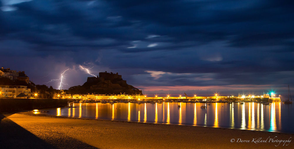 Lightning over Gorey Castle - Darren Kelland
