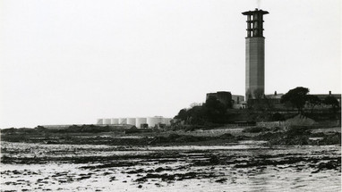 La Collette, 1996. The reclamation is now in place. The Fuel Farm centre, JEC chimney to right. (photo Author)