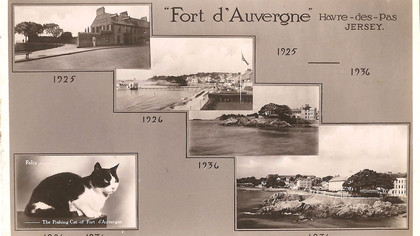 Fort d'Auvergne Postcard with Felix,1936 Alf Cabeldu (Felix was one of the Hotel's fishing cats.)