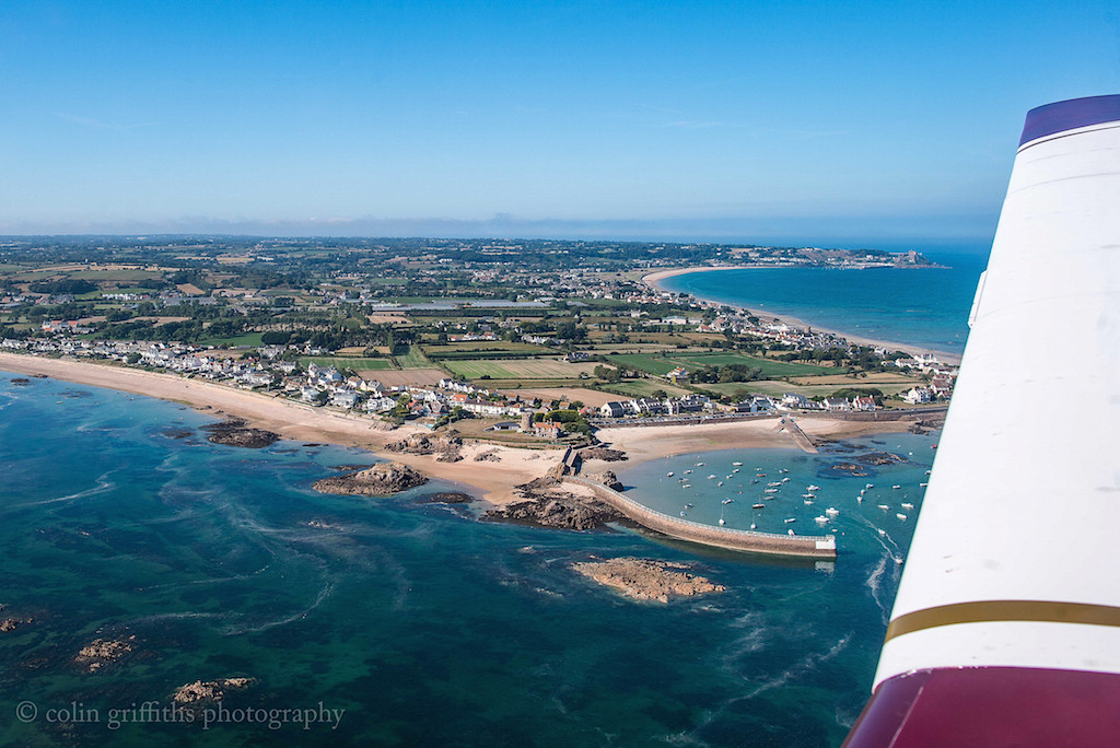La Rocque, Jersey -  Robin Bay to the left, Longbeach to the right with Gorey Castle in the distance.  (Photo - Colin Griffiths)