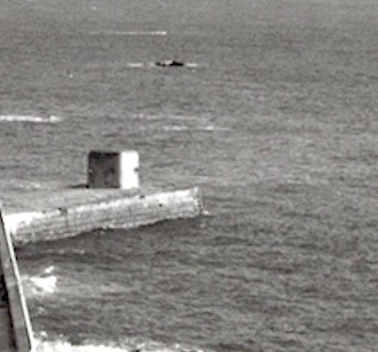 La Collette pier with German Pillbox 1965. Courtesy JEC