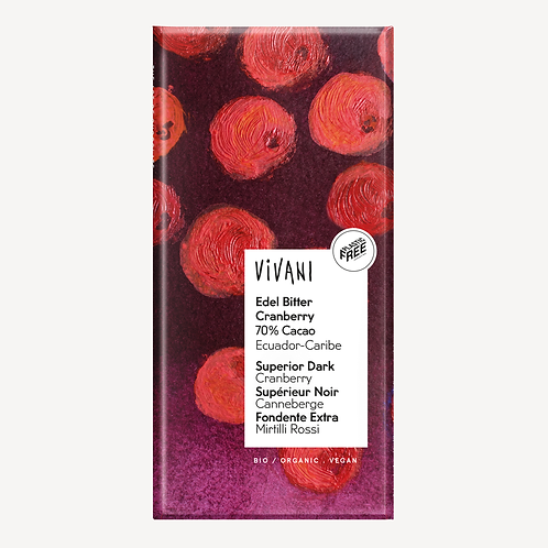 Vivani Organic Edel Bitter Cranberry 70% Cacao Chocolate