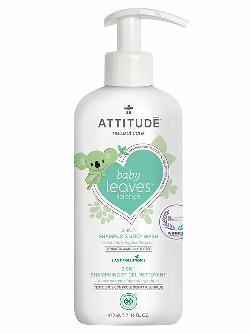 ATTITUDE Baby Leaves 2-1 Shampoo & Body Wash, Sweet Apple