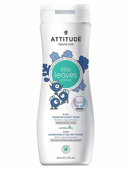 ATTITUDE Little Leaves 2-1 Shampoo & Body Wash, Blueberry