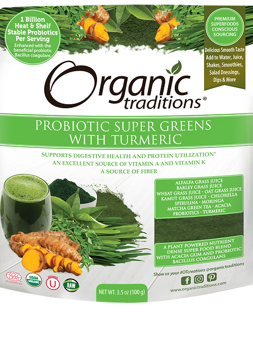 Organic Traditions Probiotic Super Greens with Tumeric
