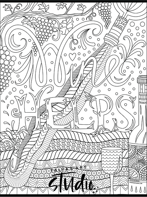 Wine Helps Coloring Page