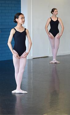 Two ballet dancers in class