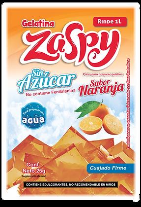 Caja con 50 sobres de gelatina en polvo sin azúcar sabor naranja