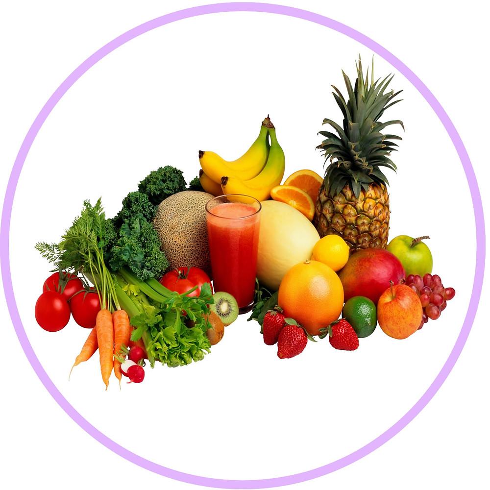 Овощи и фрукты - нам нужно получать 5-6 их видов ежедневно в количестве 800 грамм