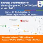 Entrega Documentación Alumnos que no continúan el año 2021