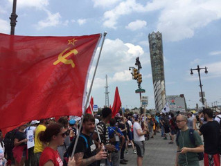 DNC displays Communist and Palestinian flags--where's the AMERICAN FLAG?