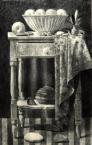 STUDIO TABLE 1997, charcoal 40×26 in / 102×66 cm