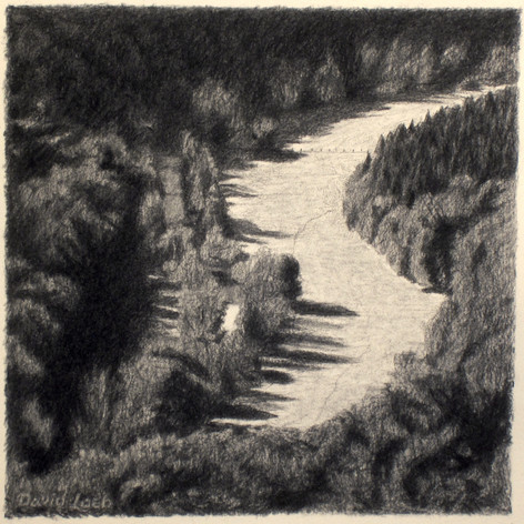 LISON RIVER VALLEY 2015, charcoal 12×12 in / 30×30 cm