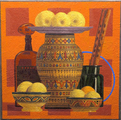 FRUIT AND FLUTES 2014, oil on canvas 20×20 in / 50×50 cm
