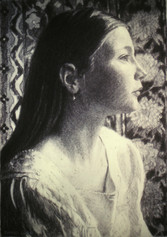JUSTINE MARTIN 2001, charcoal 20×13 in / 51×33 cm