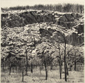 QUARRY IN THE SNOW 2017, charcoal 27×27 in / 68×69 cm