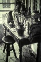 MARAIS STUDIO TABLE 1997, charcoal 38×26 in / 97×66 cm