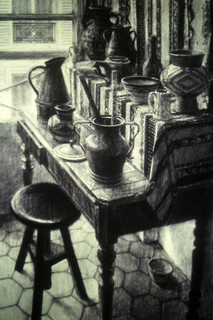 MARAIS STUDIO TABLE 1997, charcoal 38×26 in / 97×66 cm