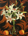 LILIES AND PEACHES 2004, oil on canvas 24×19 in / 61×48 cm