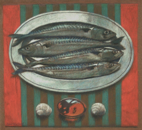 MACKEREL AND AMBER 2011, pastel 7×8 in / 18×20 cm