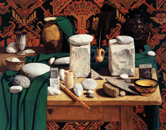 TABLE WITH ROCKS 1999, oil on canvas 35×44 in / 117×112 cm