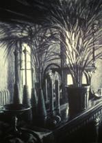BROOKLYN MANTEL 1983, charcoal 34×25 in / 86×63 cm