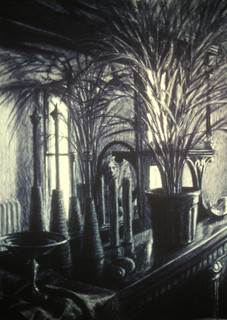 BROOKLYN MANTEL 1983, charcoal 34×25 in / 86×63 cm