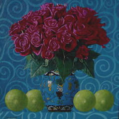 ROSES AND LIMES 2006, oil on canvas 11×11 in / 27×27 cm