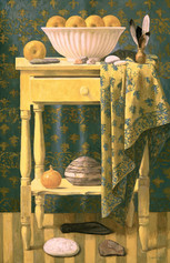 YELLOW TABLE 1999, oil on canvas 50×32 in / 127×81 cm