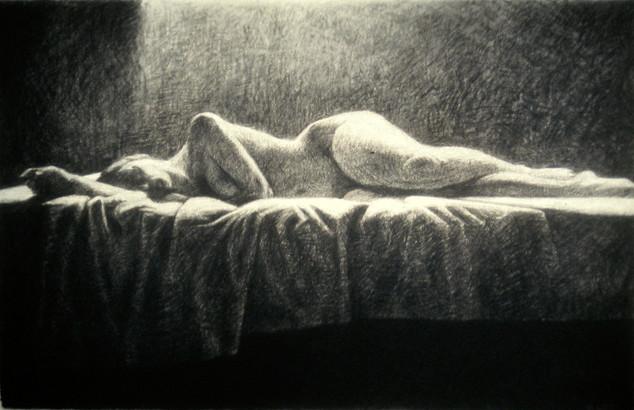 SLUMBER II 1997, charcoal 26×40 in / 66×102 cm
