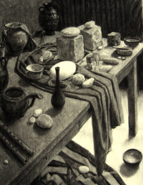 TABLE WITH ROCKS 1998, charcoal 32×25 in / 81×63 cm