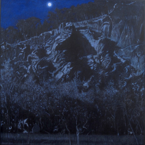 BLUE QUARRY 2017, oil on canvas 47×47 in / 120×120 cm
