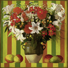 BOUQUET WITH MANGOS 1999, oil on canvas 30×30 in / 97×97 cm