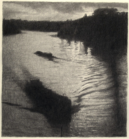 SUNSET, LA SEINE 2015, charcoal 17×16 in / 43×40 cm
